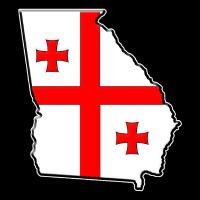 Georgia Flagge Landkarte