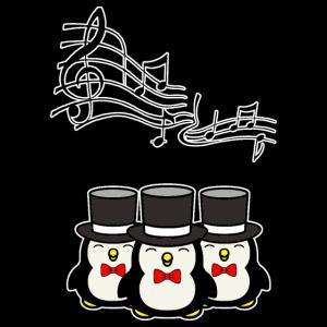 Sing Pinguin-Chor mit 3 Pinguinen