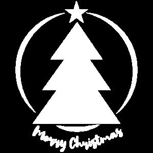 Moderner Weihnachtsbaum mit Weihnachtswünschen