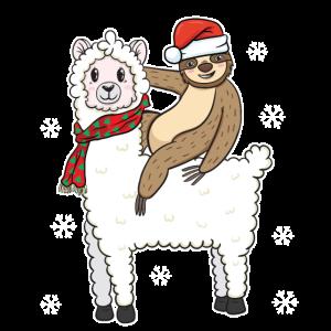 Faultier Reiten Alpaka Lustig Weihnachten Geschenk