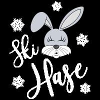 Skihase Ski Hase Bunny Kussmund Schnee Winter ws