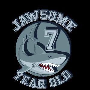 Kinder Geburtstag Boy Shark TShirt Jawsome 7 Jahre alt