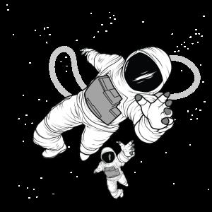 Space Man. Two Rocket Men In Kosmos. Astronaut.
