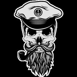 Seemann Kapitän Totenkopf Bart Matrose Geschenk