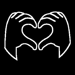 Herz Hand Weiß