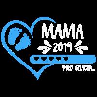 Mama 2019 wird geladen Herz Mutter Baby Junge blau