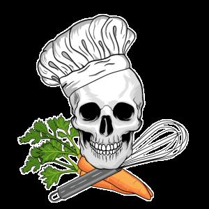 Koch Kochen Köchin Küche Totenkopf Essen Vegan
