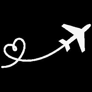 Flugzeug Flieger mit Herz in weiss