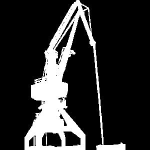 Hafenkran in Weiß! Kran Geschenk Hafen Idee