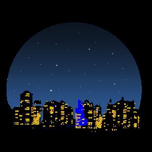 Stadt im Mondschein