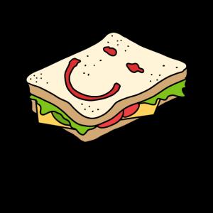 Sandwich lustiges Gesicht Salat Käse Geschenkidee
