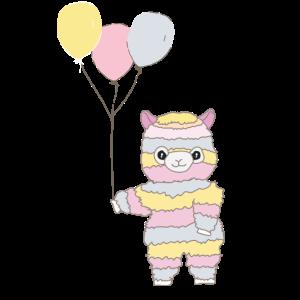 Regenbogen Alpaka Lama Ballon Geschenkidee