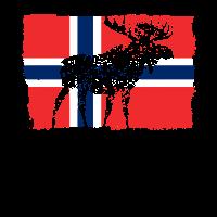 Norwegen Flagge Elch Tier Urlaub