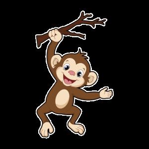 Affe Klettert Auf Einen Baum Ast