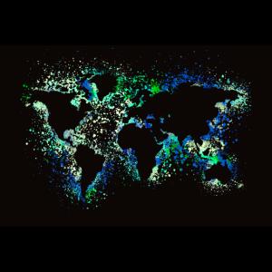 Weltkarte Neon Poster