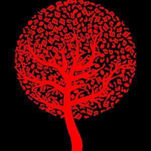 Baum mit Noten rot