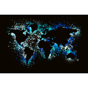 Weltkarte Neon Landkarte Poster Geschenk Wohnung