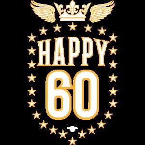 06 Happy 60 Crown Wings Star Birthday