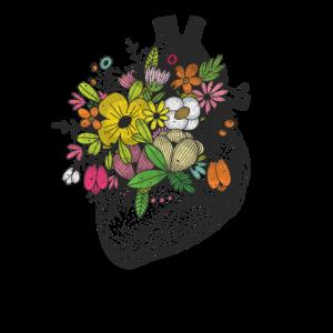 Retro Blumen Anatomisches menschliches Herz für Frauen