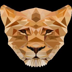 Loewe Loewin Tier Tiere Geschenk Polygon Katze