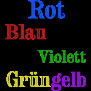 Rot blau violett grün gelb optische täuschung