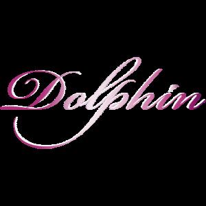 Delphin / Dolphin - Schriftzug in rosa / weiß