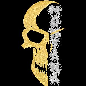 Motiv T Shirt Skull 1 Gold Montana