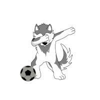 Dabbing Wolf Pug Dog Husky Mops Soccer Fussball