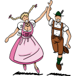 Dancing Couple with Dirndl and Lederhosen