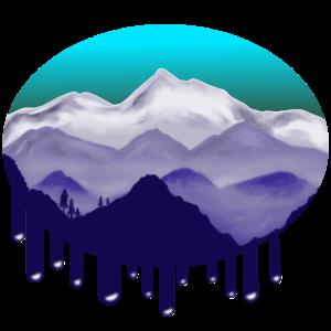 Landschaft mit Bergen mit verlaufender Farbe