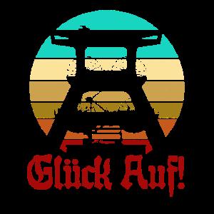 Retro Sunset Glück Auf! Vintage Bergbau Logo Zeche