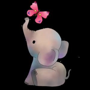 Elefant mit rosa Falter