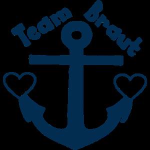 Team Braut - Anker mit zwei Herzen -