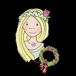 Mittelalter, Blumenmädchen, blond, Rose
