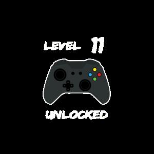 11 Jahre Level Unlocked Geburtstag Spiel Nerd