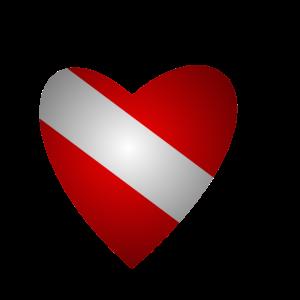 Tauchen Flagge Herz Rot Weiß Taucher Geschenk