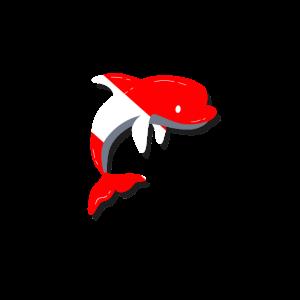 Delfin Taucherflagge Tauchen Taucher Geschenk