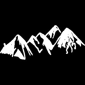 Berge mit Wanderer