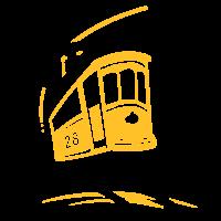 Kleine elektrische Straßenbahn gelb