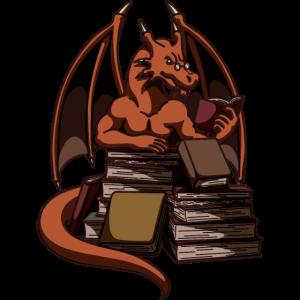 Bücher Lesender Drache | Fantasy Roman | Geschenke