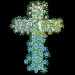 Kreuz mit bunten Blumen und Ranken