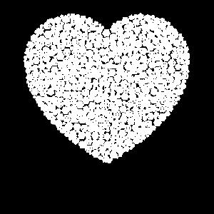 Schneeflocken Wortwolke in heart Form (Weiß)