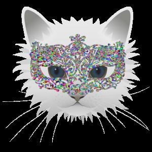 weiße Katze mit Maske