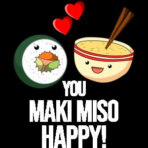 Maki Miso Happy Sushi Suppe Lustig Geek Geschenk