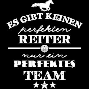 Perfektes Team Pferd und Reiter - weiß