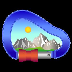 Karabiner mit Alpen Landschaft