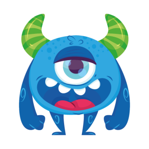 Blaues Monster freche Grinsen Lachen grosses blaue
