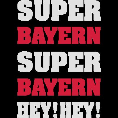 Super Bayern - Das T-Shirt für die Über-Saison der Bayern. Rekordmeister im doppelten Sinn und das Triple vor Augen - Super Bayern, Super Bayern, Hey! Hey!  - wembley,münchen,london,league,fußball,finale,deutscher meister,champions,bayern