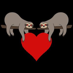 Faultier Valentinstag Herz Faultiere Liebe Paar
