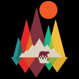"""Kalifornien Berge Bär Dreieck Grafik """